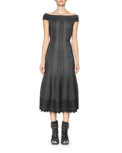 Jacquard Off-the-Shoulder Midi Dress, Black/White