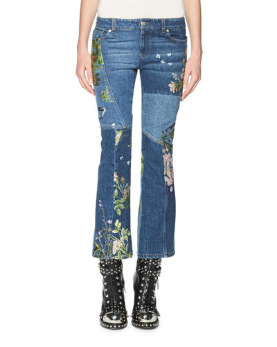 Floral-Embroidered Kick Crop Jeans, Light Blue