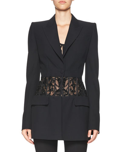 Beaded-Waist Long Blazer, Black