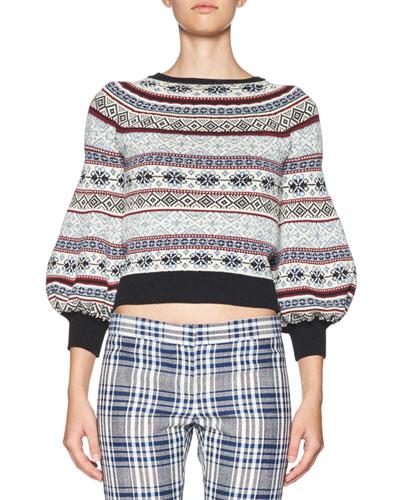 Fair Isle Bell-Sleeve Sweater, Multi