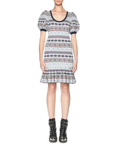 Fair Isle Puffy-Sleeve Flounce Dress, Multi