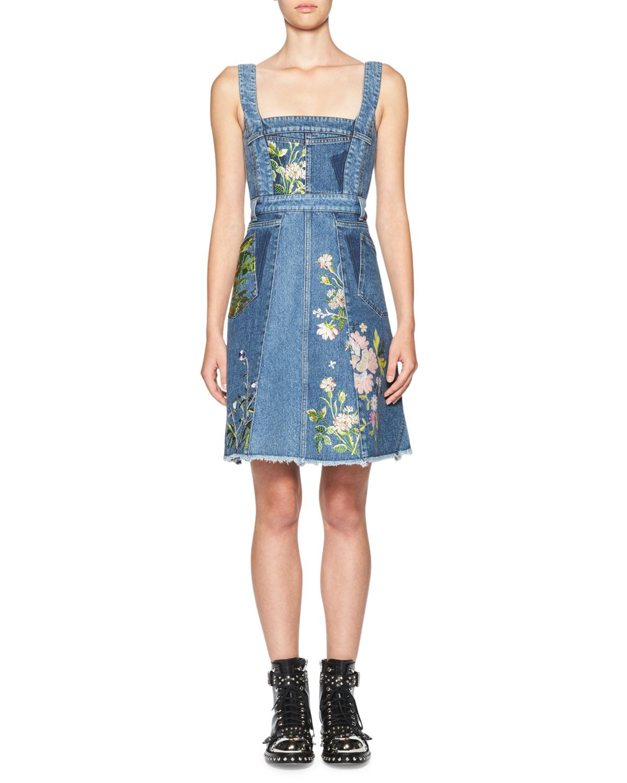 Floral-Embroidered Denim Dress, Blue