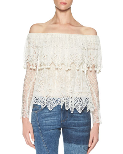 Fisherman-Lace Off-the-Shoulder Top, Ivory