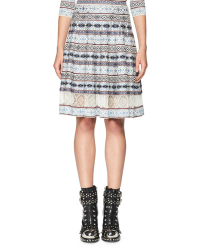 Fair Isle Lace-Inset A-Line Skirt, Multi