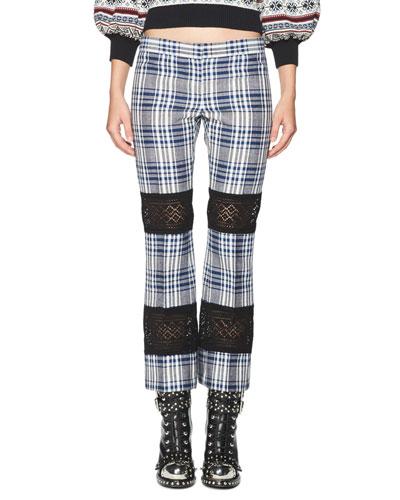 Celtic-Check Lace-Inset Kick Crop Pants, Multi
