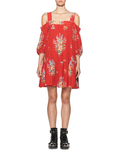 Island Bouquet Off-the-Shoulder Dress, Red