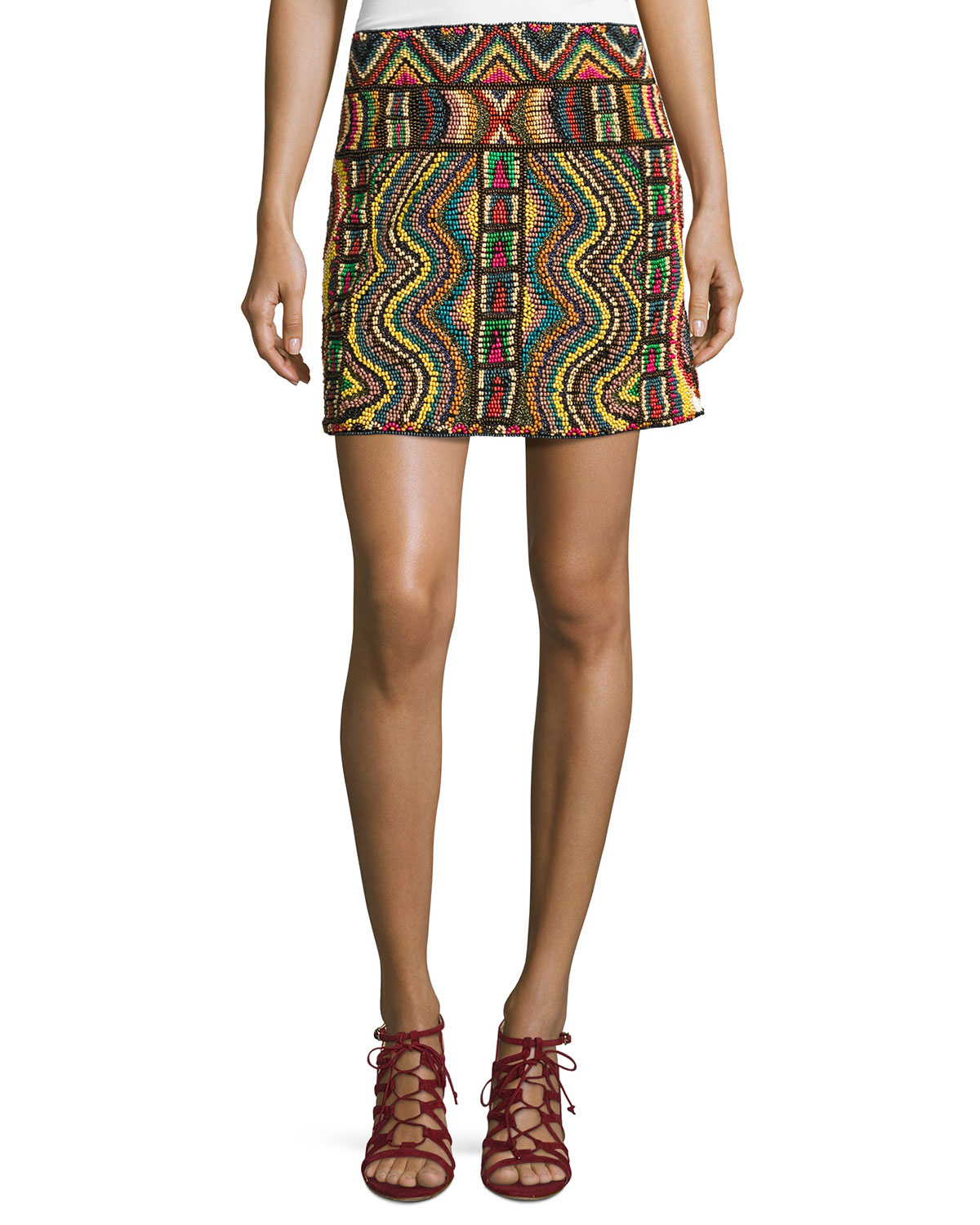 Geometric Beaded Mini Skirt, Multi