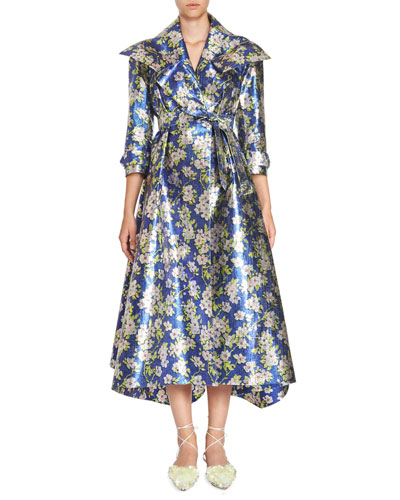 Floral Gabardine Coat Dress, Blue