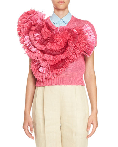Floral Raffia Short-Sleeve Sweater, Hot Pink