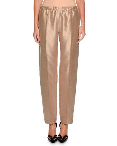 Shantung Straight-Leg Pants, Hazelnut