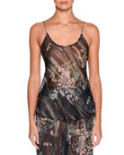 Floral Scoop-Neck Silk Shell, Multi