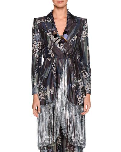 Floral Fringe Silk Jacket, Multi