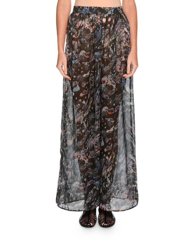 Floral Silk Palazzo Pants, Charcoal/Multi
