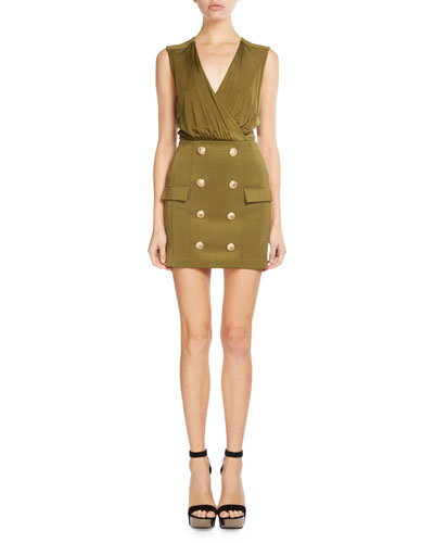 Sleeveless Draped Button-Skirt Dress, Khaki
