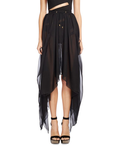 Drawstring Silk Asymmetric-Hem Skirt, Black