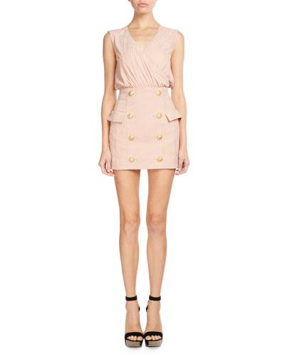 Sleeveless Suede Button-Skirt Dress, Light Pink