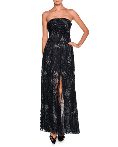 Floral Strapless Beaded Gown, Charcoal/Multi