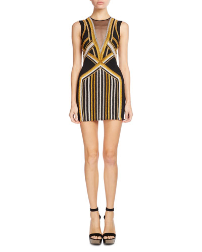 Illusion V-Neck Geometric-Print Mini Dress, Black/Multi