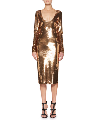 06c06a1b Quick Look. TOM FORD · Sequined Long-Sleeve Scoop-Neck Dress