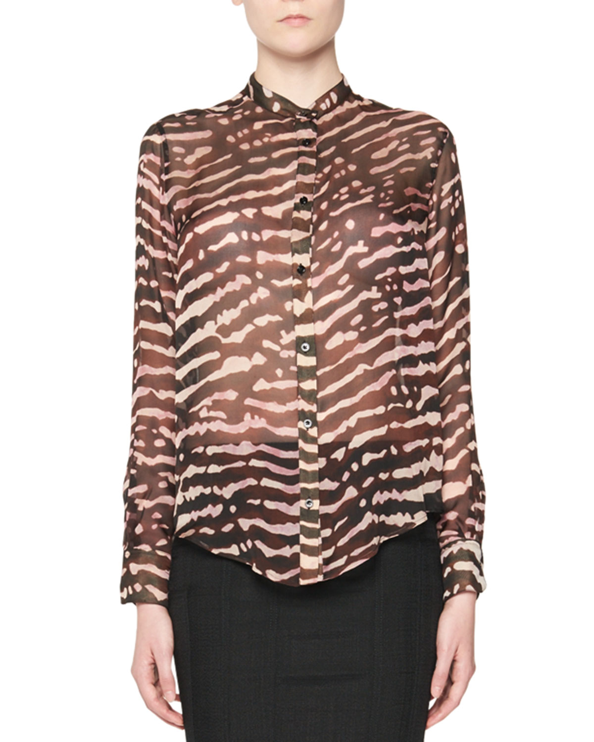 Animal-Print Silk Blouse, Multi
