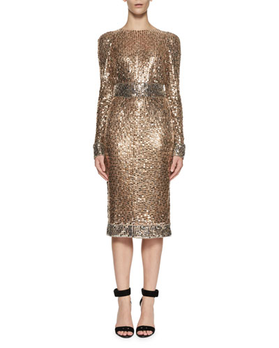 Embroidered Metal Sheath Dress, Silver