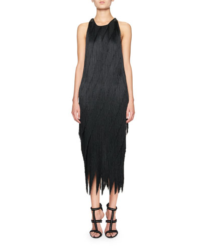 Bias-Fringe Midi Dress w/Leather Racerback, Black