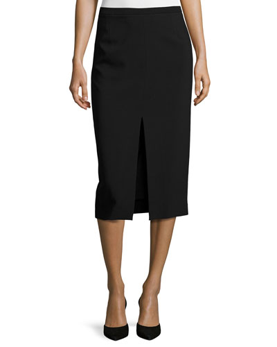 Front-Slit Pencil Skirt, Black