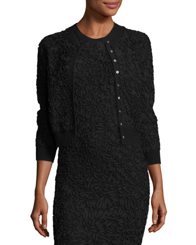 Soutache Embroidered 3/4-Sleeve Cardigan, Black