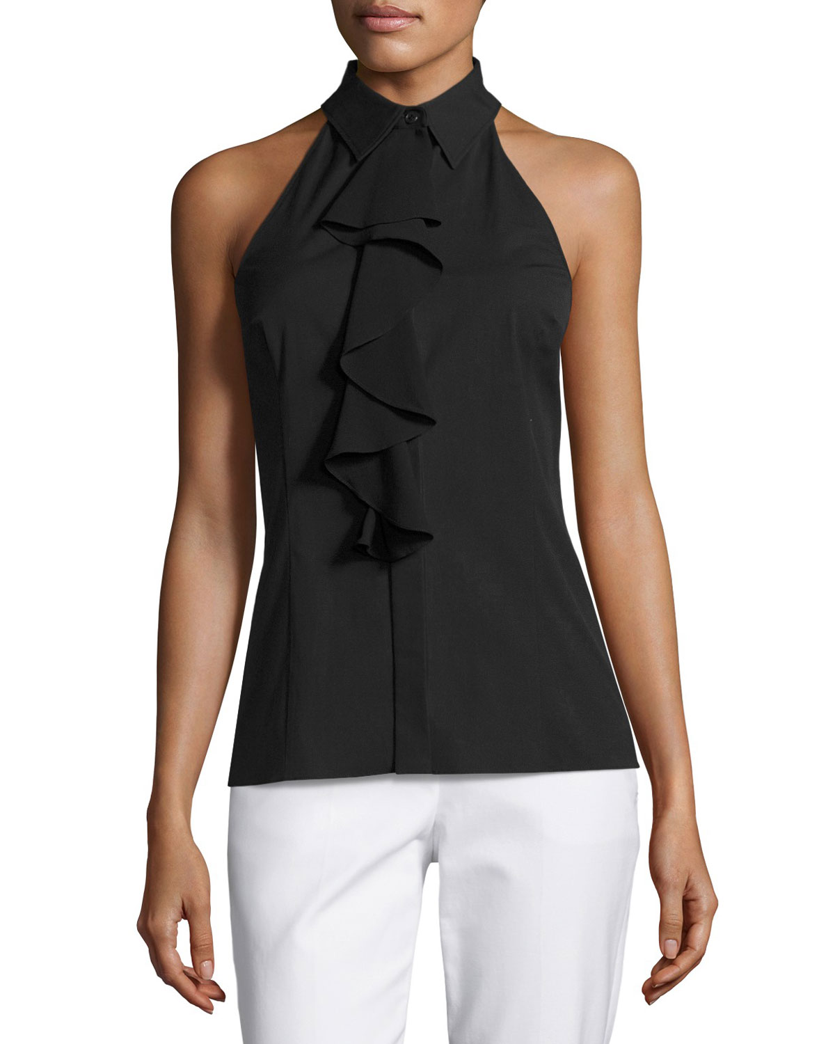 Ruffled Sleeveless Halter Blouse