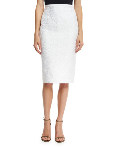 Floral Jacquard Pencil Skirt, White