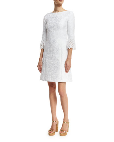 Lace-Cuff Jacquard Shift Dress, White