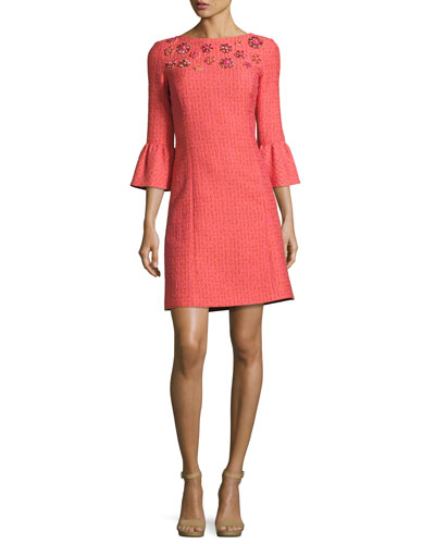 Jeweled Bell-Sleeve Tweed Dress, Pink/Multi