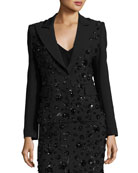 Sequined-Floral Dinner Jacket, Black