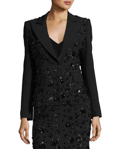 Sequined-Floral Dinner Jacket, Black