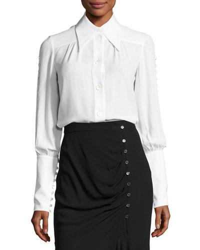 Button-Detail Silk Blouse, White