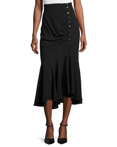 Draped Side-Button Midi Skirt, Black