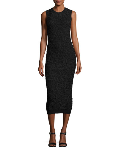 Soutache Embroidered Crewneck Sheath Dress, Black