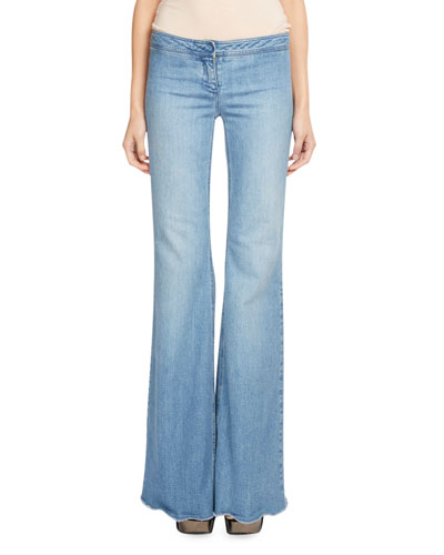 Low-Rise Flared Jeans, Medium Blue