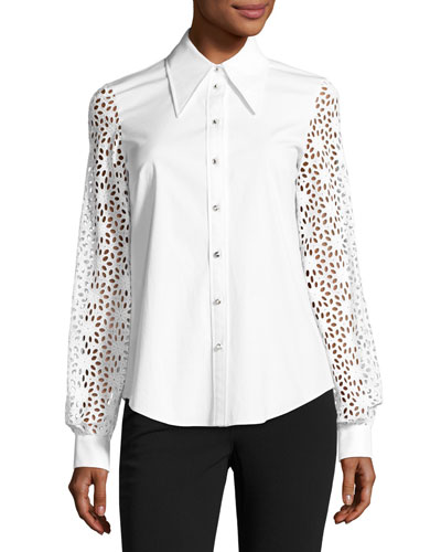 Eyelet-Sleeve Poplin Blouse, White