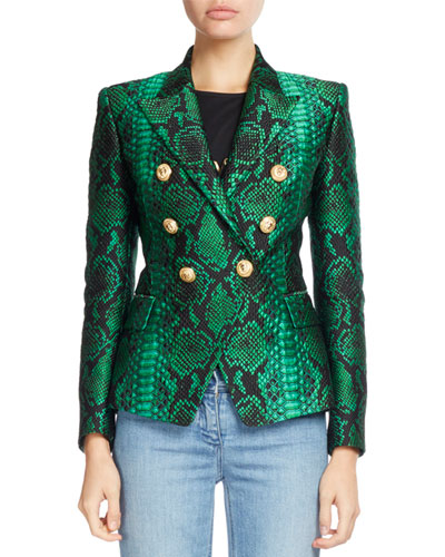 Classic Double-Breasted Python-Print Blazer, Green/Black
