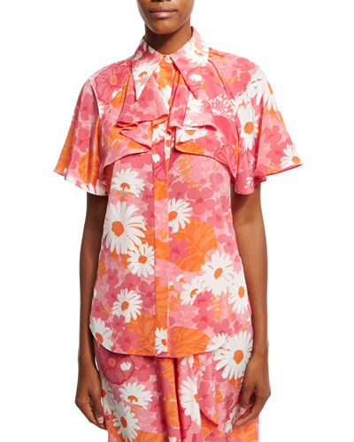 Daisy-Print Draped Silk Blouse, Pink
