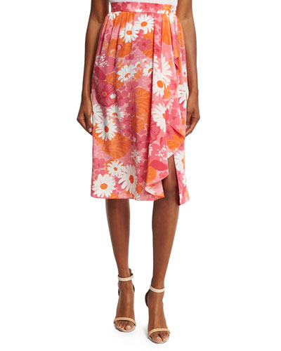 Daisy-Print Wrap Skirt, Pink/Multi