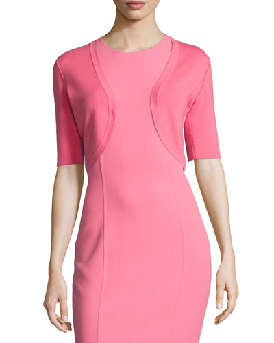 Half-Sleeve Knit Shrug, Pink