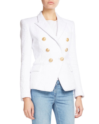 Classic Double-Breasted Jacquard Blazer, White