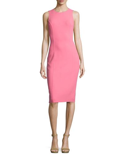 Jewel-Neck Sleeveless Sheath Dress, Pink