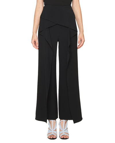 Crossover High-Waist Ruffled Pants, Black