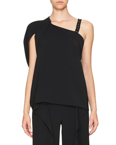 Studded One-Shoulder Asymmetric Top, Black/Metallic