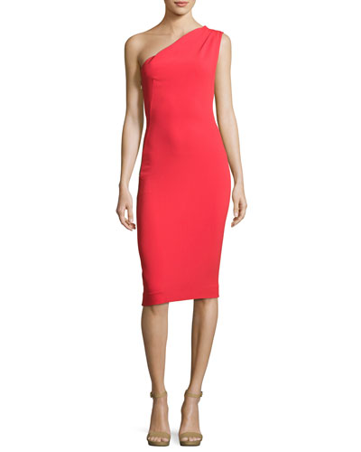 Mila One-Shoulder Sheath Dress, Red