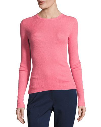 Cashmere Long-Sleeve Crewneck Sweater, Pink