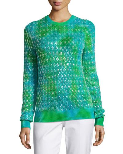 Tie-Dye Paillette Crewneck Sweater, Turquoise
